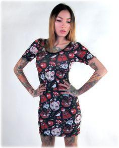 Liquor Brand Damen LITTLE RED Kleid.Oldschool,Tattoo,Pin up,Rockabilly Style