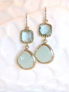Aqua Mint Gold Earrings  Crystal Quartz Gem by LoveShineBridal, $35.00