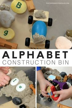 Putting together a construction alphabet sensory bin is so easy and fun, and a great way to expose toddlers and preschoolers to literacy. And, it builds fine motor skills, too! - Education and lifestyle Preschool Learning Activities, Alphabet Activities, Sensory Activities, Hands On Activities, Infant Activities, Toddler Preschool, Kids Learning, Kindergarten Literacy, Motor Activities