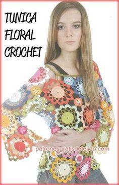 Patrones de tunica de grannys circulares de flores