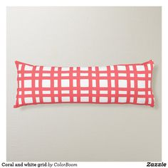 Coral and white grid body pillow Pink Cushions, Soft Fabrics, Grid, Vibrant Colors, Coral, Peach, Pillows, Design, Pink Throw Pillows
