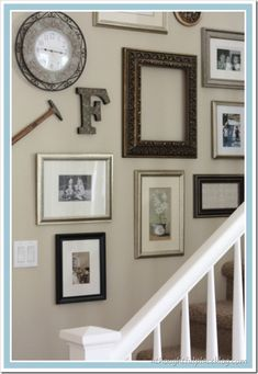A Thoughtful Place: Gallery Wall: Staircase Story Stairway Gallery Wall, Stairway Walls, Gallery Wall Layout, Stairs, Gallery Walls, Stairway Photos, Wall Trim Molding, Staircase Wall Decor, Stairwell Wall