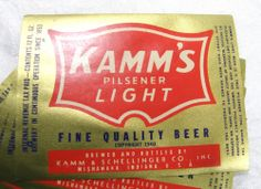 Lot 5 Labels from Kamm's Pilsener Light Beer Mishawaka, Indiana Post Prohibition