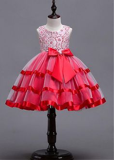 Lilybridalshop In Stock Romantic Lace Tulle Satin Jewel Neckline A-line Flower Girl Dresses With Bowknots African Dresses For Kids, Dresses Kids Girl, Girls Party Dress, Girl Outfits, Dress Party, Frock Design, Red Flower Girl Dresses, Dress Red, Lace Dresses