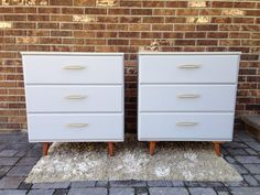 $450 OBO Awesome pair of mid century chest of drawers. Painted a beautiful gray with chalk paint (not to be confused with chalkboard paint) and sealed with wax. Comes with original hardware, tapered legs an...