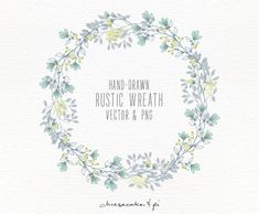 Floral wreath: Hand drawn floral clip art / Wedding invitation clip art / commercial use / PNG and Vector / Flowers / CM0062w4 by CheesecakeandPi on Etsy
