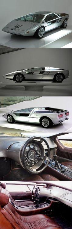 1972 Maserati Boomerang / Italy / Giorgetto Giugiaro ItalDesign / concept… #lamborghinivintagecars #maserativintagecars
