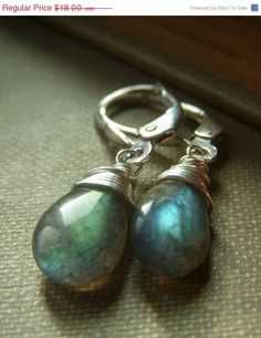 Labradorite Briolette Earrings on Sterling Leverbacks . Wirewrapped Gemstone . Bolt