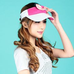 Bow sun visor hats for girls wide brim protection hat UV protection