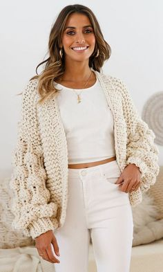 Desert Bound Cream Long Sleeve Chunky Crochet Oversize Cardigan Knit P – Indie XO Pull Crochet, Mode Crochet, Chunky Crochet, Cream Cardigan Outfit, Cardigan Outfits, Pom Pom Sweater, Cardigan En Maille, Oversized Knit Cardigan, Crochet Clothes