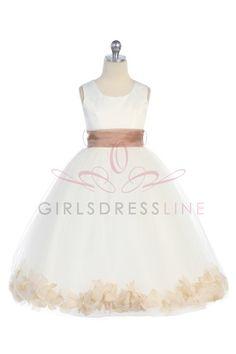 Taupe Satin & Tulle Flower Girl Dress with Petals & Sash G2570TU $39.95 on www.GirlsDressLine.Com