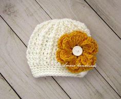 Baby girl hat, crochet baby girl hat, newborn girl hat, baby girl beanie, white baby girl hat, baby girl flower hat, newborn girl beanie by Amaiahandmade on Etsy