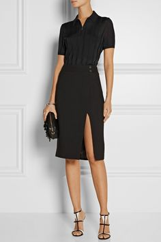From the Runway: Jason Wu Stretch SkirtJason Wu updates the classic pencil skirt with a flattering wrap-effect front and a sleek split. This black crepe design has a slim fit and decorative buttons at the waist. Wear it with a blouse and monochrome sandals.BUY NOW