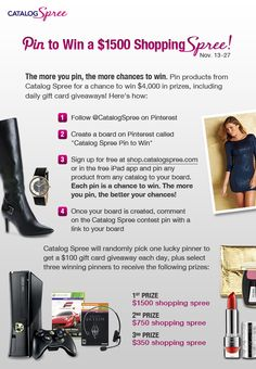 Visit our Facebook page each day (facebook.com/catalogspree) to see if you've won!
