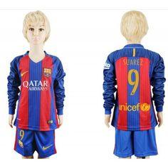 Fotballdrakter Barn Barcelona 2016-17 Suarez 9 Hjemme Draktsett Langermet