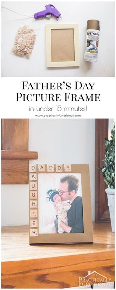 he can take it to the office and… Super cute Father's Day picture frame idea; he can take it to the office and you can update the photo every once in a while so he always has a current photo with him! Diy Gifts For Dad, Daddy Gifts, Kids Gifts, Diy Father's Day Gifts From Daughter, Grandpa Gifts, Fathers Day Presents, Fathers Day Crafts, Gifts For Father, Foto Gift