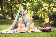 Vintage bottles as props  to get them to sit still - great idea.  Heather Campbell Photograhy