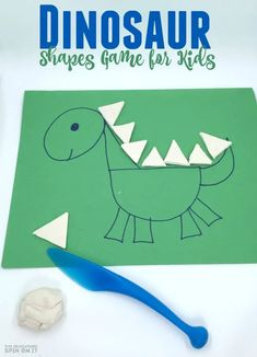 Dinosaur Shapes Game for Kids with Playdough Dinosaur Games, Dinosaur Activities, Math Activities For Kids, Dinosaur Crafts, Preschool Games, Fun Math, Book Activities, Preschool Ideas, Shape Activities