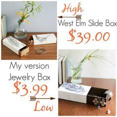JEWELRY SLIDE BOX { WEST ELM KNOCK OFF } - Place Of My Taste