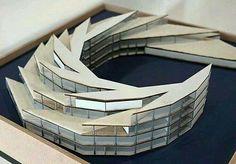 Architectural pavilion white paper model central