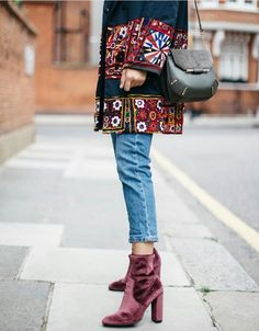 Fall is around the corner and these grape ankle boots and cut off jeans provide a little breathing room right above the ankle.  The embroidered jacket accents the boots so wonderfully.