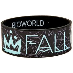 Hot Topic Fall Out Boy Logo Geometric Print Rubber Bracelet ($5.60) ❤ liked on Polyvore featuring jewelry, bracelets, multi, rubber bangles, rubber jewelry, geometric jewelry and logo jewelry