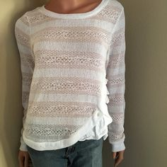 Lightweight ruffle detail sweater. Size M Beautiful light weight knit sweater, perfect for casual Friday. This white and ecru striped sweater features a girly ruffle at the side, closed with button detail. Anthropologie Sweaters