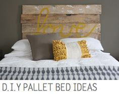 Headboard... or if you put your bed/boxsprings on top of a pallet, you could have storage underneath... just might need a big pallet.