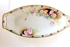 Nippon Antique Vintage Porcelain Relish Tray,1890s,Blue Maple Leaf,Gold Moriage,Handpainted Roses,Openwork Handles,Dining and Serving,China