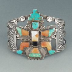 Zuni Stamped Silver Kinfewing Bracelet with Turquoise and Spiny Oyster Inlay, c.1940