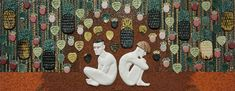 In the Garden, Ville Heimala, 2014. Ceramic reliefs and handmade ceramic mosaic, 70 cm x 180 cm.