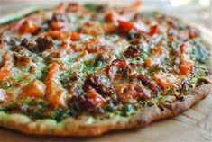 Sausage, Red Bell Pepper and Spinach Pesto Pizza from @Beverly Weidner bevcooks.com