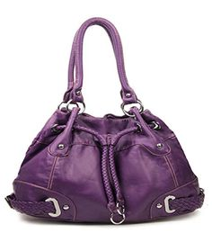 Purple Cinch Tie Stone Washed Handbag In Stock $45