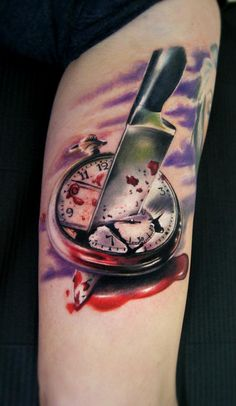 Killing Time 3D Tattoo - Moni Marino http://best3dtattoos.com/3d-tattoos/killing-time-3d-tattoo/