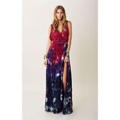Blu Moon Tie Dye Goddess Maxi Dress in Raven
