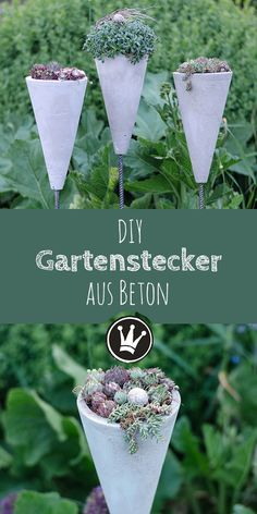 Sommerlicher Hingucker: Gartenstecker & Blumenampel aus Beton Garden plugs made of concrete – the instructions for this DIY are available dekoideenreich.de I made these concrete cones with the help of simple plastic pylons from sporting goods.