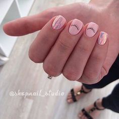 Beach nails, Broken glass nails, Everyday nails, Interesting nails, Original nails, Pale pink nails, Shattered glass nails, Summer nails ideas