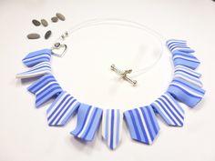 drapeaux en fimo bleu collier mer bannière fanion cadeau vacancière : Collier par kintcreations