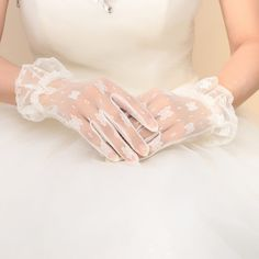 Black Red White Ivory Short Lace Bridal Gloves Wedding Accessories Party Lace Gloves