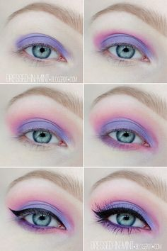 Dressed in Mint: make up. - Purple in Pink / step by step