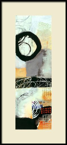 Scribble Bounce 2, 7x22 acrylic, ink, collage 550 by Jane Davies