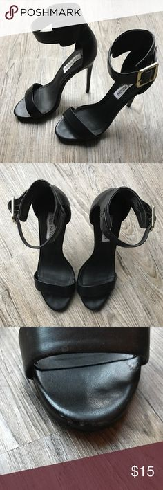 Steve Madden Marlenee Black Heels Steve Madden Marlenee black heels with buckle strap; gently worn; few minor scuffs here and there (detailed shots provided), but that's why they're a great price! 😉; perfect heels for both jeans and dresses, day to night Steve Madden Shoes Heels