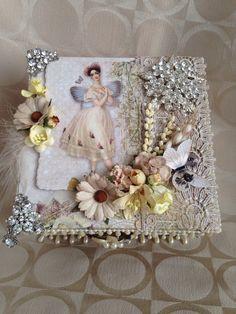 Shabby chic wedding box bling box custom box by customcardsbysarah