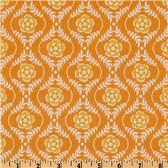 Decadence Damask Orange flower girl fabric