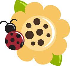 flor con mariquita