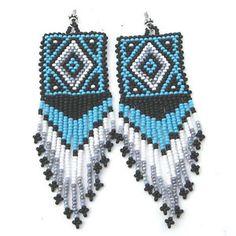 Blue Black White Seed Beaded Earrings Medicine Man's Beadwork E21 2 | eBay