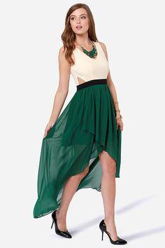 heart of class dark green and cream high low dress