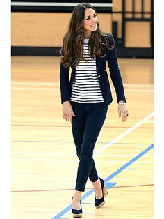 The sports-loving princess was in her element among the athletes as she joined her charity, SportsAid, in the familiar surroundings of London's Olympic Park.  She was wearing Navy jeggings by J Brand, a Breton-style top by Ralph Lauren and a one-button blazer by Smythe  and 4 inch Russell & Bromley wedges.