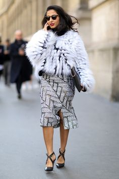 street style: Paris Fashion Week Fall 2014... Nausheen Shah delivered ultraluxe black and white.