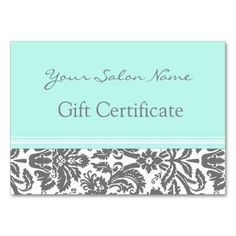 Salon Gift Certificate Aqua Grey Damask Large Business Cards (Pack Of 100). This is a fully customizable business card and available on several paper types for your needs. You can upload your own image or use the image as is. Just click this template to get started!